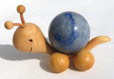Schnecke mit Blauquarz Kugel 3 cm, Rollschnecke