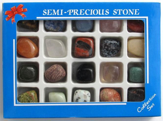 Edelsteine Trommelsteine Sammlung Set 20 Stck Geschenkbox 210 g.